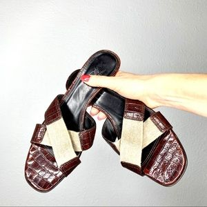 Donald J. Pliner Cross Strap Croc Sandals